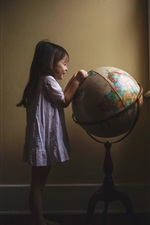 Preview iPhone wallpaper Little girl play globe, room, window