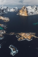 Preview iPhone wallpaper Lofoten Islands, Norway, fjord, sea, mountains, snow, winter, top view