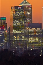 London, skyscrapers, buildings, lights, night, England