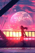 Preview iPhone wallpaper Long hair girl, bridge, whales, planets, fantasy art