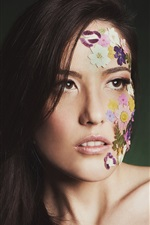 Preview iPhone wallpaper Long hair girl, face, flowers, style