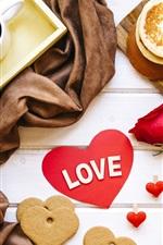 Amor coração, café, biscoitos, pão, presentes