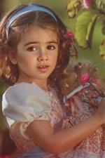 Preview iPhone wallpaper Lovely short hair little girl, flowers, doll