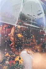 Preview iPhone wallpaper Lovers, umbrella, rainy, romantic