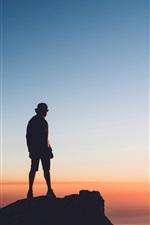 Preview iPhone wallpaper Man, rocks, sea, sunset