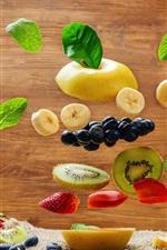 iPhone fondos de pantalla Muchos tipos de rodaja de fruta, plátano, pera, kiwi, arándano, fresa