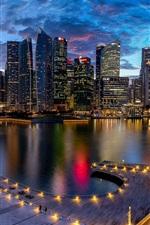 Preview iPhone wallpaper Marina Bay, Singapore, city, night, lights