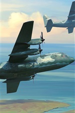 Preview iPhone wallpaper Military aircrafts, sky, clouds, art drawing