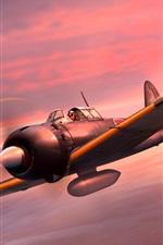 iPhone обои Mitsubishi Fighter A6M5 Zero, японский флот