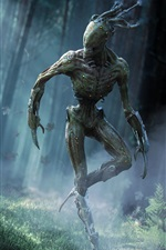 Preview iPhone wallpaper Monster in the forest, creative design