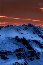 Preview iPhone wallpaper Mountains, snow, clouds, dusk, winter