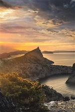 Preview iPhone wallpaper Mountains, trees, sea, sunset, clouds