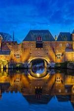 Preview iPhone wallpaper Netherlands, Amersfoort, river, bridge, houses, night, lights