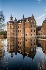 iPhone fondos de pantalla Países Bajos, castillo, río, reflejo de agua, juncos