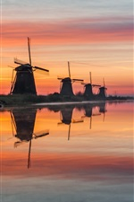 Preview iPhone wallpaper Netherlands, windmills, river, water, morning, fog