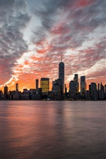 New Jersey, Jersey City, skyscrapers, sea, clouds, dusk, USA