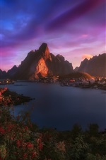Preview iPhone wallpaper Norway, Lofoten Islands, village, fjord, mountains, morning, clouds, sky