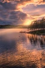 Noruega, ringerike, ilha, árvores, lago, pôr do sol, nuvens