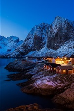 Preview iPhone wallpaper Norway, sea, night, houses, lights, mountains, snow