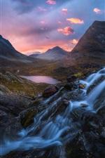 Norway, waterfall, mountains, lake