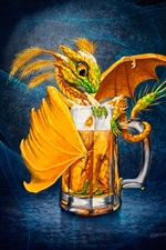 Preview iPhone wallpaper One cup beer, dragon, creative picture