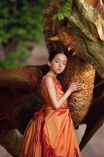 iPhone обои Оранжевая юбка маленькая девочка и дракон