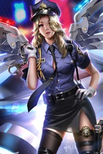 Overwatch, Misericórdia, polícia, garota, asas, noite