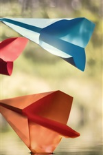 Preview iPhone wallpaper Paper aircraft, water