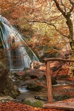 Preview iPhone wallpaper Park, bridge, waterfall, path, red leaves, autumn