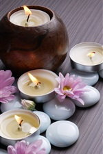 Preview iPhone wallpaper Pink chrysanthemum, candles, stones, SPA