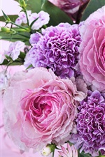 Pink flowers, bouquet, chrysanthemum, roses