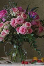 Preview iPhone wallpaper Pink roses, vase, cups