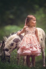 Pink skirt little girl and donkey