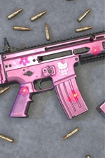 Preview iPhone wallpaper Pink style assault rifle, bullets, weapon