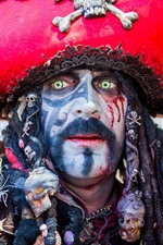 Preview iPhone wallpaper Pirate, male, makeup, green eyes