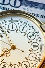 Pocket watch, clock, dollar