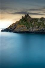 Preview iPhone wallpaper Polperro, Cornwall, England, sea, rocks, house, dusk