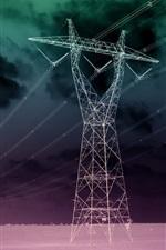 Preview iPhone wallpaper Power lines, desert, night