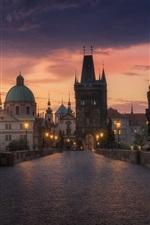 Preview iPhone wallpaper Prague, evening, bridge, road, lights, buildings