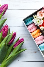 Preview iPhone wallpaper Purple tulips, colorful macaron, box, flowers, gift