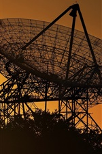Preview iPhone wallpaper Radio telescope, antenna, morning, sunrise