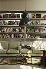 Reading room, books, sofa