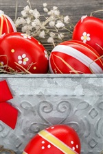 Preview iPhone wallpaper Red Easter eggs, hay