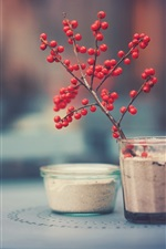 Red berries, glass cups