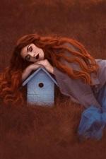 Preview iPhone wallpaper Red hair girl sleeping, bird house