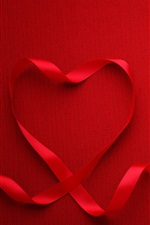 Preview iPhone wallpaper Red love heart, ribbon, red background