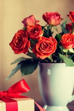 Preview iPhone wallpaper Red roses, cup, gift, romantic