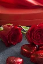 iPhone fondos de pantalla Rosas rojas, amor corazón dulce, chocolate, romántico