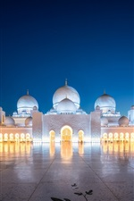 Preview iPhone wallpaper Religious, Abu Dhabi, architecture, night, lights