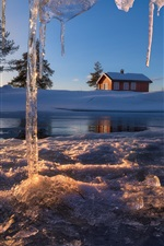 Ringerike, Norway, icicles, house, winter, snow, pond, sunset